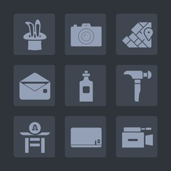 Premium set of fill icons. Such as photographer, mail, hat, japan, saw, school, magic, communication, photo, magician, japanese, liquid, star, glass, world, beverage, chalk, picture, equipment, blank