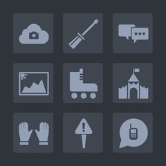 Premium set of fill icons. Such as screw, bubble, work, photography, skating, mark, talk, sport, dialog, speech, ringing, phone, cloud, castle, equipment, web, screwdriver, sign, medieval, glove, call