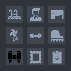 Premium set of fill icons. Such as spring, download, white, sign, notebook, boy, flower, swim, water, casual, male, computer, picture, desk, equipment, border, top, fashion, gym, piano, summer, people