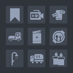 Premium set of fill icons. Such as web, cargo, chat, book, table, kid, candle, bookmark, water, food, bathroom, hygiene, truck, vehicle, movie, plate, medical, lens, fire, video, sign, handle, media