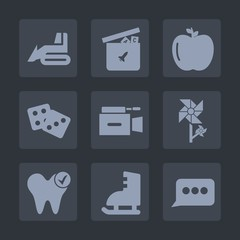 Premium set of fill icons. Such as heavy, health, flower, healthy, blossom, success, sign, chat, apple, bulldozer, nature, dentist, bear, play, hydraulic, camera, vehicle, sport, car, teddy, industry