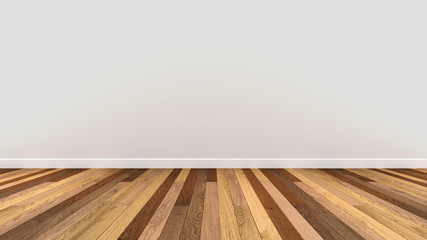 wood floor tile white wall paint 3d render background mock up template