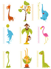 Flat vector set of rulers for measuring kids growth with cute animals and birds. Decorative meter wall stickers for children room