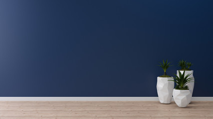 blue wall concrete paint wood floor with vase tree 3d render background texture template copy space