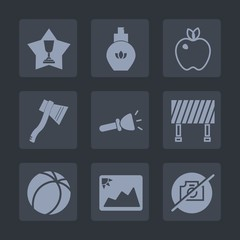 Premium set of fill icons. Such as winner, axe, victory, traffic, food, fruit, street, bottle, soccer, place, fashion, camera, first, female, sport, apple, photo, achievement, frame, competition, road