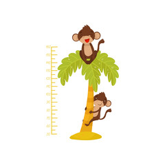 Fotorolgordijn Bestsellers Kids Height chart for children and funny monkeys on palm tree. Tropical animals. Measuring wall sticker for kids room. Flat vector design