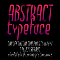 Abstract alphabet typeface. Oblique type letters and numbers. Uppercase and lowercase. Vector font for your design.