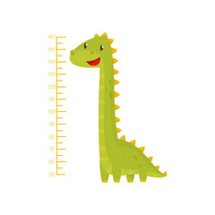 Height chart for measuring kids growth with adorable green dinosaur. Meter wall sticker for children room. Flat vector design
