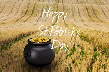 happy st patricks day against rural fields