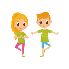 Children doing balancing yoga exercise. Funny little boy and girl in sportswear. Healthy lifestyle. Flat vector design