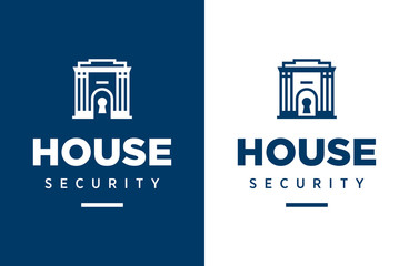 Modern professional vector logo house security in blue theme