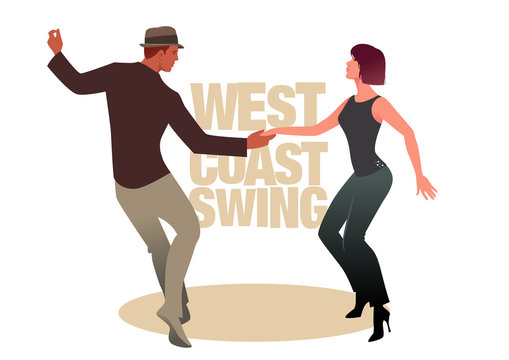 Young couple dancing swing. West Coast Style