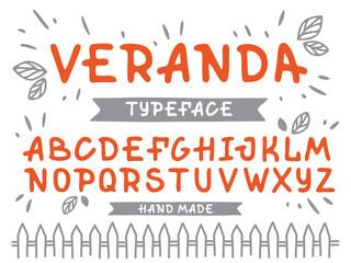 Veranda cursive font. Vector alphabet with latin letters in orange theme