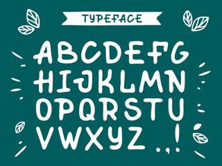 Veranda cursive font. Vector alphabet with latin letters in green theme