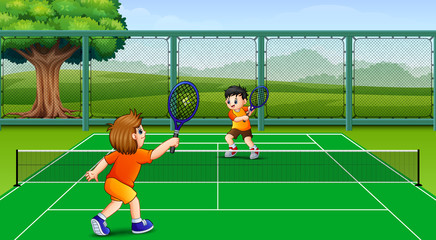 Playing tennis at field