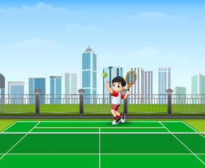 The Boy are playing tennis