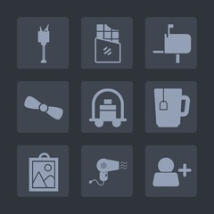 Premium set of fill icons. Such as mail, letter, baggage, dark, picture, cup, image, send, sign, celebration, bottle, alcohol, chocolate, champagne, hotel, bar, snack, glass, bucket, tea, hairdryer