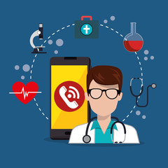 doctor with smartphone medical services app vector illustration design