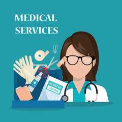 woman doctor with medical services icons vector illustration design