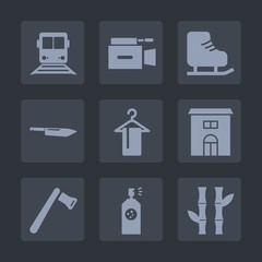 Premium set of fill icons. Such as ice, train, media, leisure, building, white, asia, tool, paint, asian, television, movie, skating, hammer, screwdriver, fun, equipment, spray, clothing, film, video