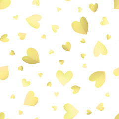 Seamless pattern background with yellow hearts. Paper Wallpaper vector illustration. Template for Valentines Day.
