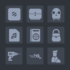 Premium set of fill icons. Such as note, post, tourism, stamp, furniture, postcard, document, fashion, business, extraterrestrial, monster, flight, plane, immigration, office, departure, food, work