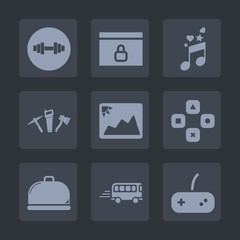 Premium set of fill icons. Such as food, weight, treble, bus, speed, sign, sound, gym, transport, padlock, frame, spanner, photo, website, health, image, fitness, note, picture, music, sport, play