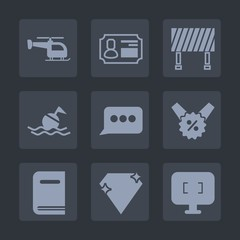 Premium set of fill icons. Such as message, computer, security, traffic, emergency, gem, chat, id, street, helicopter, business, technology, life, safety, ring, education, library, speech, sea, screen