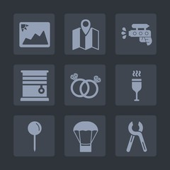 Premium set of fill icons. Such as air, road, photo, pin, repair, drink, navigation, drop, ring, glass, room, city, travel, interior, blank, pistol, picture, balloon, red, industrial, curtain, game