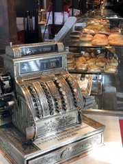 Counting machine in a French bakery