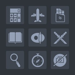 Premium set of fill icons. Such as bar, accounting, glass, technology, financial, dessert, candy, textbook, plane, cooking, calculator, white, katana, weapon, book, kitchen, zoom, literature, samurai