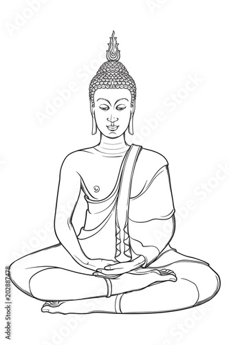 Statueof sitting Buddha meditating in the single lotus