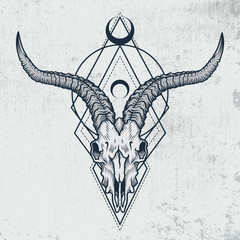 Goat skull in engraving graphic, ink technique. Vector illustration of goat skull with sacred geometry shapes on grunge background. Good for posters, t-shirt prints, tattoo design.
