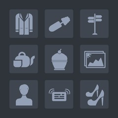 Premium set of fill icons. Such as message, direction, arrow, user, food, dessert, fashion, cosmetic, notification, japanese, jacket, street, coat, high, account, road, style, clothes, cake, female