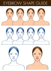 Eyebrow shape guide. Template of female blank face. Vector illustration of pretty young woman. Professional make up chart. Eyebrow styling technique.