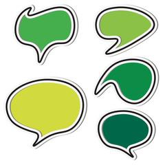 Set of green speech sticker bubbles. Vector illustration.