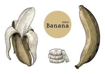 Banana collection sets hand drawing vintage engraving illustration