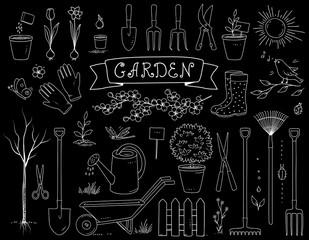 hand drawn chalk garden tools set