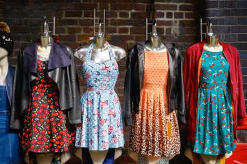 Women summer dresses on display at Camden market in London