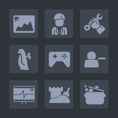 Premium set of fill icons. Such as picture, casual, man, penguin, food, foreman, occupation, baby, joystick, helmet, male, account, pictogram, health, photo, frame, image, young, blank, toy, tower