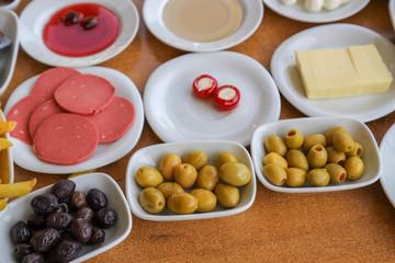 Traditional Turkish breakfast and turkish tea