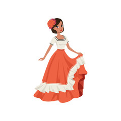 Young beautiful mexican woman in traditional national dress vector Illustration on a white background
