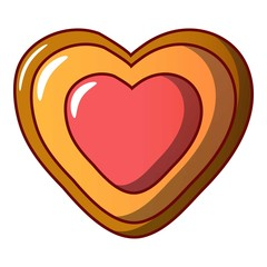 Heart biscuit icon. Cartoon illustration of heart biscuit vector icon for web