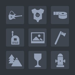 Premium set of fill icons. Such as guitar, nature, environment, tree, background, equipment, clothes, frame, department, water, tool, sound, fashion, wrench, newborn, wine, rock, kid, tape, small, boy