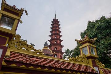The chua tran quoc temple in Hanoi, Vietnam.