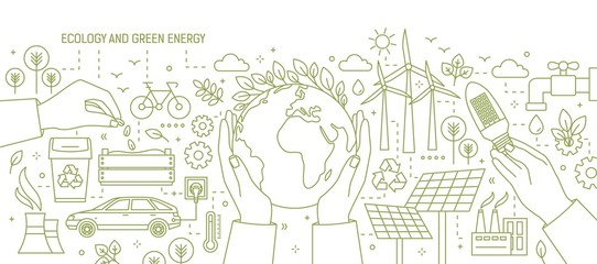 Monochrome banner with hands holding Earth and light bulb surrounded by wind and solar power stations, electric car, plants. Ecology and renewable energy. Vector illustration in line art style. Wall mural