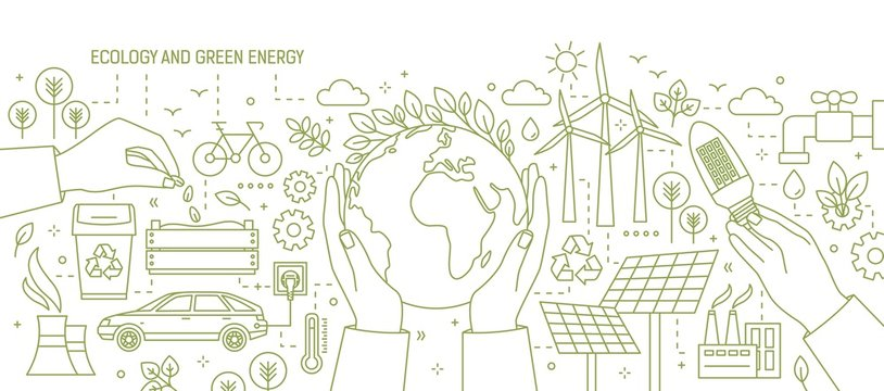 Monochrome banner with hands holding Earth and light bulb surrounded by wind and solar power stations, electric car, plants. Ecology and renewable energy. Vector illustration in line art style.