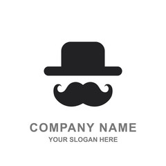 Bowler Hat and Mustache Hipster Retro Fashion Style Logo Vector Illustration