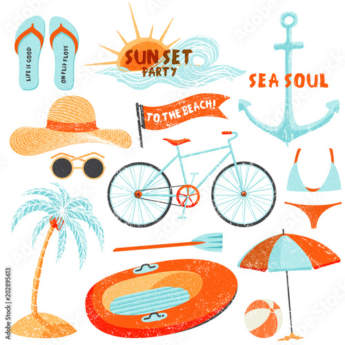 188c27a39d77c Summer holidays set. Hand drawn beach related illustrations for poster