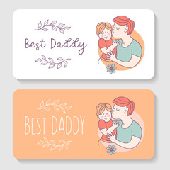 Best daddy. Fathers day. Vector illustration.